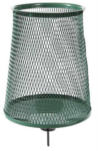 Green Metal Trash Receptacle